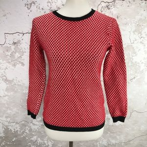 Zara Knit Red Woven Black Trim Crewneck Sweater